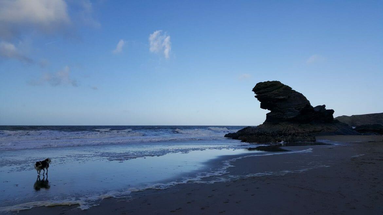Carreg Bica Rock on Llangrannog beach