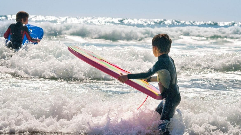 Surfing at Borth beach